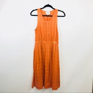 Anthropologie Postmark Orange Tennis Silk Dress
